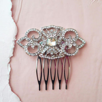 Art Deco Inspired Bridal Crystal Headpiece Vintage Wedding Hair Comb 1920s Gatsby Downton Abbey Side Comb AMELIA Bridesmaid Hair Pin