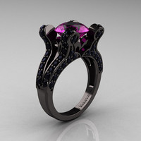 Asherah - French Vintage 14K Black Gold 3.0 CT Amethyst Black Diamond Pisces Wedding Ring Engagement Ring Y228-14KBGBDAM