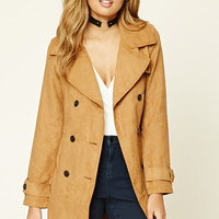 Faux Suede Double-Breasted Coat