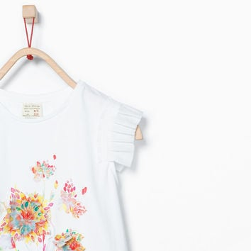 FLOWERS AND SEQUINS FRILLED T-SHIRT