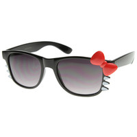 Cute Ladies Retro Fashion Hello Kitty Sunglasses w/ Bow and Whiskers