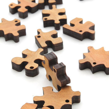 Mini Puzzle Piece Beads Laser Cut Wood Free by TimberGreenWoods
