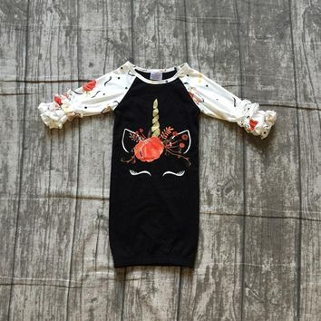 new Fall/winter black pumpkin unicorn baby girls boutique clothing milk silk infant cotton fashion tutu romper Toddler sets