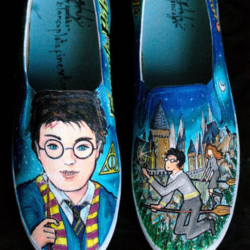 """Custom Hand Painted Shoes, Sneakers Flats Slip On's """"Harry Potter"""" by Blanca Plata"""