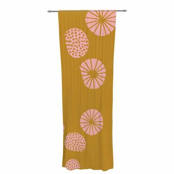 "bruxamagica ""Dandelion Mustard"" Yellow Pink Abstract Polkadot Digital Illustration Decorative Sheer Curtain"