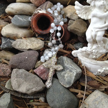Vintage Faux Moonstone Sterling Silver Filigree Wire Wrapped Catholic Rosary Italy