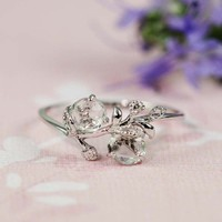 Silver Green Amethyst White CZ Floral Ring