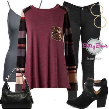 (pre-order) Set 805: Cranberry Raglan with Sequin Pocket (incl. top, tank & earrings)