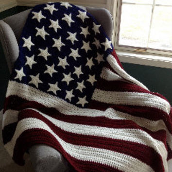 Best Red And White Crochet Afghans Products On Wanelo Amazing Stars And Stripes Throw Blanket