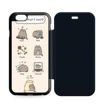 Love Pusheen Cat Leather Wallet Flip Case iPhone 6 | 6S