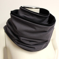 Gray Black Infinity Scarf, Two Tone Cowl, Reversible Infinity, Cotton Loop Scarf, Large Neck Warmer, Jersey Circle Scarf, Gunmetal Gray Cowl