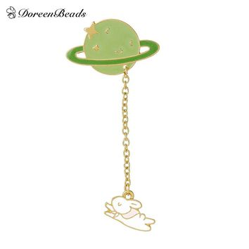 DoreenBeads 2016 Vintage Designer Enamel Rabbit Planet Charm Costume Brooch Pins Jewelry Accessories for Women 6.9x3.2cm 1PC
