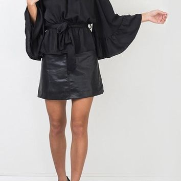 Black Ruffle Sashes Bandeau Backless Off Shoulder Bell Sleeve Adjust Waist Blouse