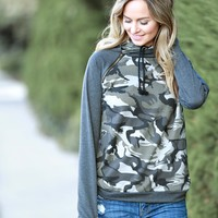 Double Hooded Camo Sweatshirt