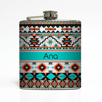 Personalized Flask Custom Name Monogram Aztec Tribal Hipster Trendy Sorority Bridesmaid Gifts Stainless Steel 6 oz Liquor Hip Flask LC-1228