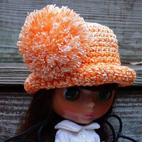 Orange Color Blythe Hat, Pompom Hat, Fashion Doll, Hats for Dolls, Crochet Doll Clothes, Accessories for Dolls, Miniature Hat, Blythe Outfit