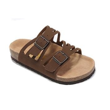 2017 Birkenstock Hot Summer Fashion Leather Cork Flats Beach Lovers Slippers Casual Sandals For Women Men Couples Slippers color brown size 36-45-2