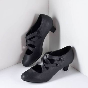 Black Cross Strap Victorian Dame Pumps