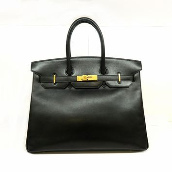 Hermes Box Calf Leather Birkin 35 Gold Metal Tote Bag Noir/ Black 1201