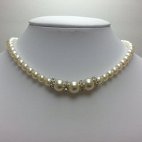 Glass Pearl and Rhinestone Choker Necklace