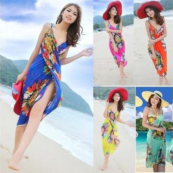 Summer Women Sexy Bohemian Sarong Beach Dress Deep V Wrap Chiffon Swimwear Bikini Set Cover Up