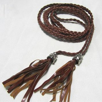 Women Thin Long PU Leather Woven Belt Tassel Clothing Waist Strap Braided Belt PY1