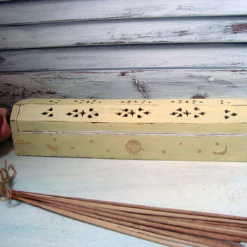 Yellow Incense Box, Light Yellow Distressed Incense Coffin, Incense Holder, Incense Burner with Sun Moon and Stars, Cottage Chic, Up Cycled