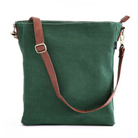 Waxed Moss Canvas Sling Crossbody