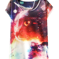White Short Sleeve Cat-Eye Print Loose T-Shirt