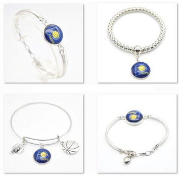 2017 New Jewelry Bracelet Indiana Pacers Charms Sport Bracelet Bangle Women Men Basketball Fan Fashion  Accessories