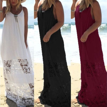 Fashion Sexy Women Ladies Patchwork Straps Beach Backless Maxi Long Dresses White Dress [9305627655]