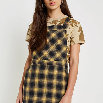 Urban Renewal Vintage Remnants Yellow Checked Pinafore Dress | Urban Outfitters