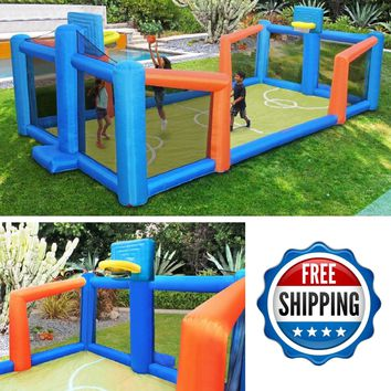 Inflatable Bounce House Bouncer Basketball Court Commercial Kids Jump Toys 1d