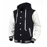 Angel Cola Navy & White Hoodie Varsity Cotton & Synthetic Leather Baseball Letterman Jacket (Small)