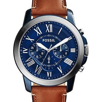 Fossil Mens Chronograph Grant Light Brown Leather Strap Watch 44mm fs5151