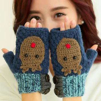 Cute Bear Winter Warm Mitts 100% Handmade Knitted Fingerless Gloves