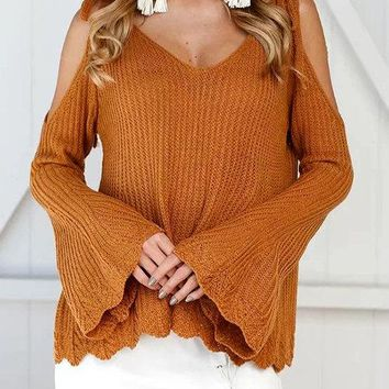 Dark Orange Self-tied Design Cold Shoulder Flared Sleeves Sweater