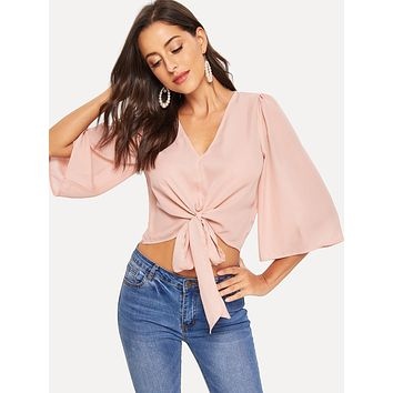 Knot Front V-neck Bell Sleeve Top