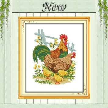 The chicken family home Decor Sets embroidery Needlework Counted Printed on canvas DMC 11CT 14CT Cross Stitch kits Mascot animal