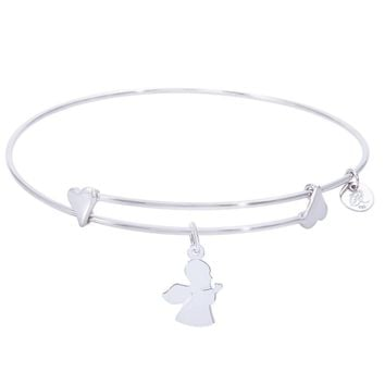 Sterling Silver Sweet Bangle Bracelet With Angel Charm