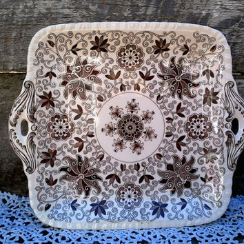 """Masons Bow Bells Dual Handle Serving Platter, Cake Plate, 11"""" x 9 1/2"""",  English Transferware, Aesthetic, Toile, Serving, Holiday Dish"""