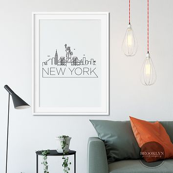 New York City Skyline City Art Travel Poster