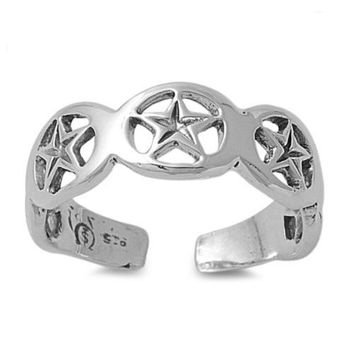 Sterling Silver Wicca Star 5MM  Toe Ring/ Knuckle/ Mid-Finger