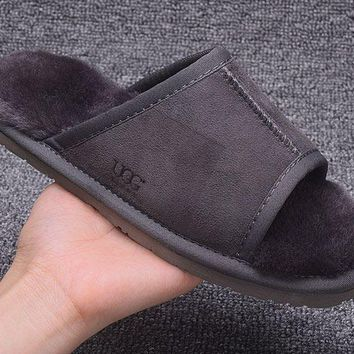 ESBON UGG Open Toe Slipper Sheepskin Women Men Fashion Casual Wool Winter Snow Boots Grey