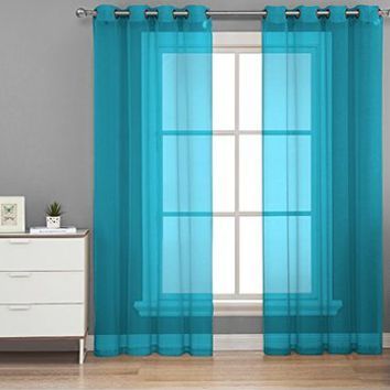 "HLC.ME Turquoise 2-Pack 108"" inch x 84"" inch Window Curtain Sheer Panels"