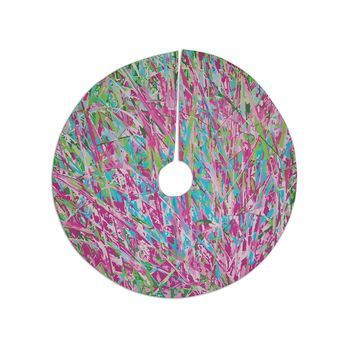 "Empire Ruhl ""Spring Grass Abstract"" Pink Teal Tree Skirt"