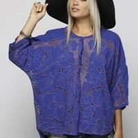 Blue Party Top - Vintage Purple Crochet Tunic Batwing | UsTrendy