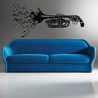 Wall Decal Vinyl Sticker Decals Art Decor Music Style Gift Vintage Sax Saxphone Guns weapon Instrument Jazz Song blood (r73)