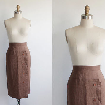 Vintage 60s Raw Silk Cocoa Geometric Pencil Skirt | XS extra small