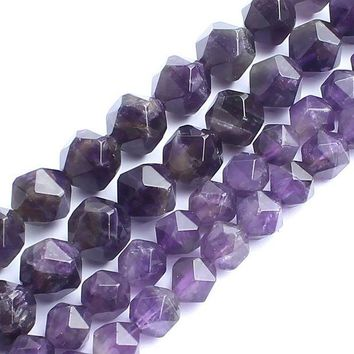 ac spbest Natural Purple Amethysts Stone Beads 15inch Faceted Gem Stone Round Beads For Jewelry Making 6/8/10mm Spacer Beads Diy Bracelet